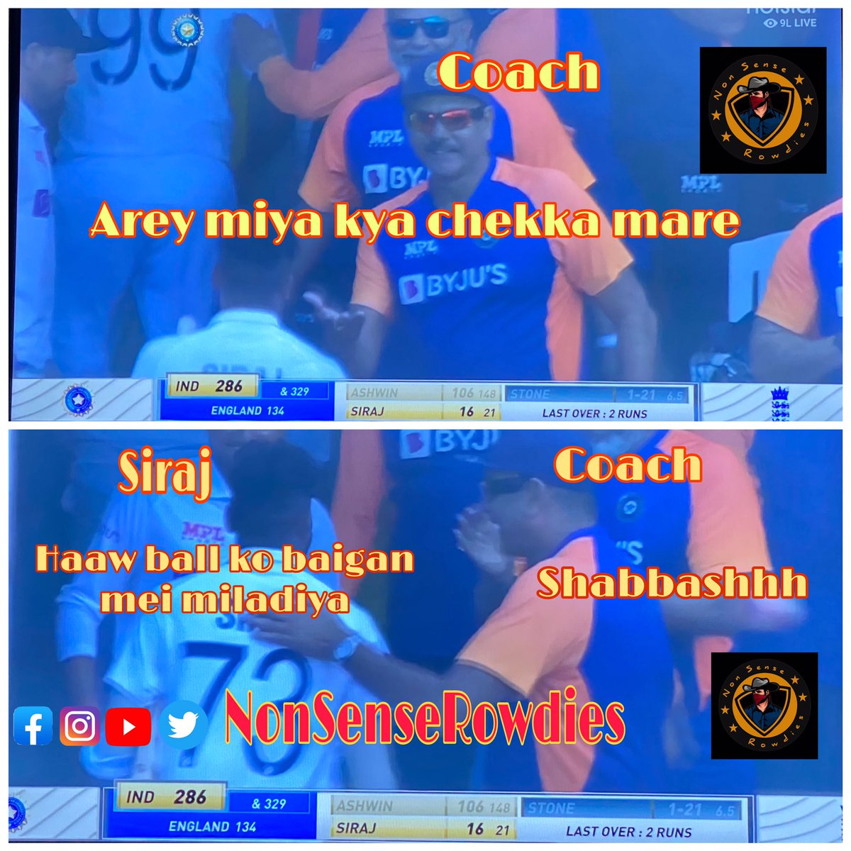 @RaviShastriOfc : Arey miya kya chekka (6) mare  #SirajMohammed  : Haaw ball ko baigan mei miladiya   @RaviShastriOfc : Shabbashhh  #INDvsENG  #INDvsAUSTest #nsr #nonsenserowdies #ash #siraj #BCCI #cricketmemes #hyderabadi #playbold #rcb #RishabhPant #IPLAuction #7NEWS #TV9News