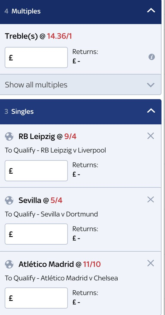 The Champions League returns tomorrow. I'm a little baffled by a few of these prices to qualify   Liverpool: 1/3 RB Leipzig: 9/4   Chelsea: 4/6 Atletico: 11/10  Dortmund: 4/7 Sevilla: 5/4  I'll be having a small dabble on this treble from Sky Bet, 14/1 https://t.co/3SCEqoSRTd