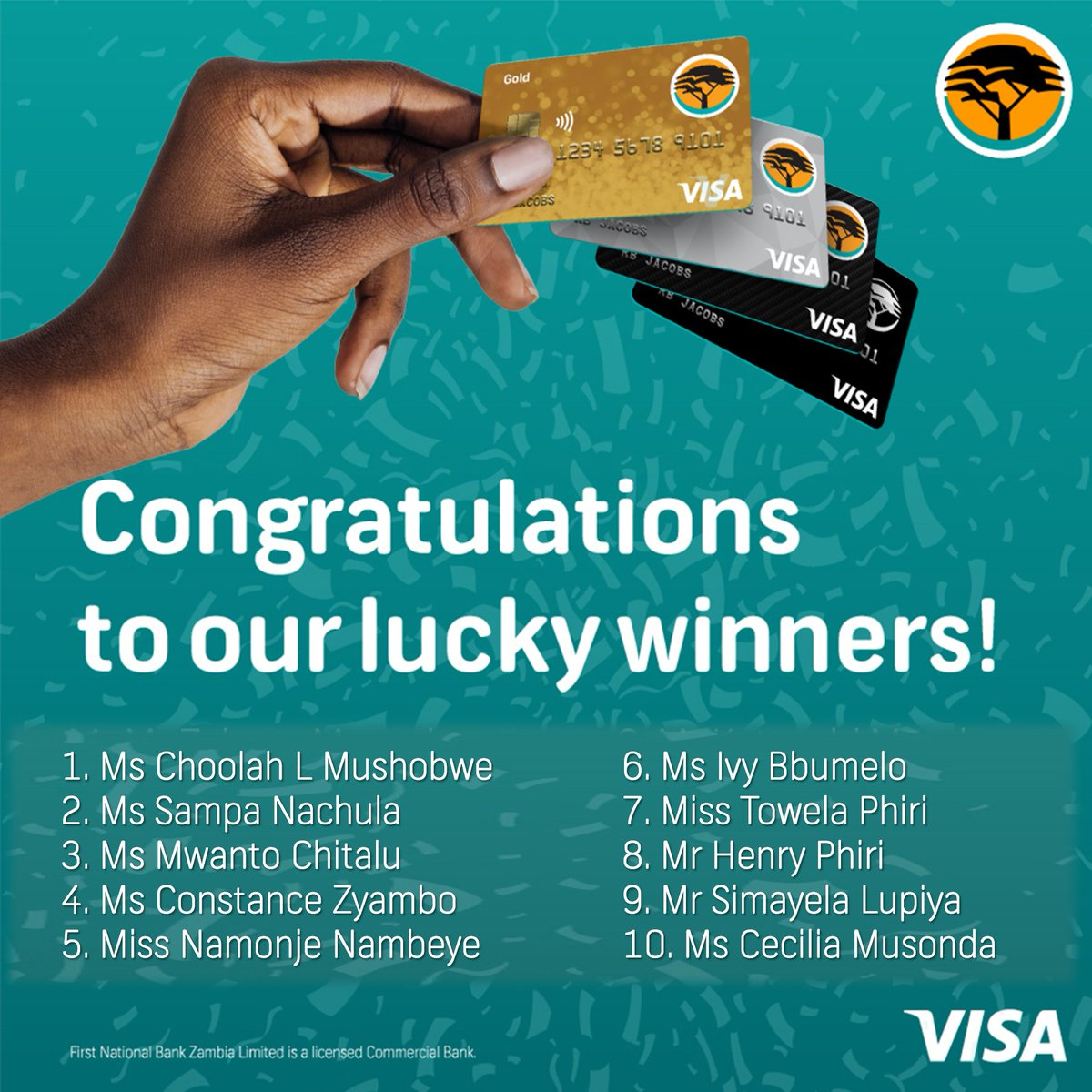 Congratulations to our 2nd draw prize winners in the FNB swipe and win promotion. Each winner receives one months' worth of groceries. Swipe to pay using your FNB Visa debit card to get rewarded in cash. T's & C's apply. https://t.co/dT4IOdo4Ad