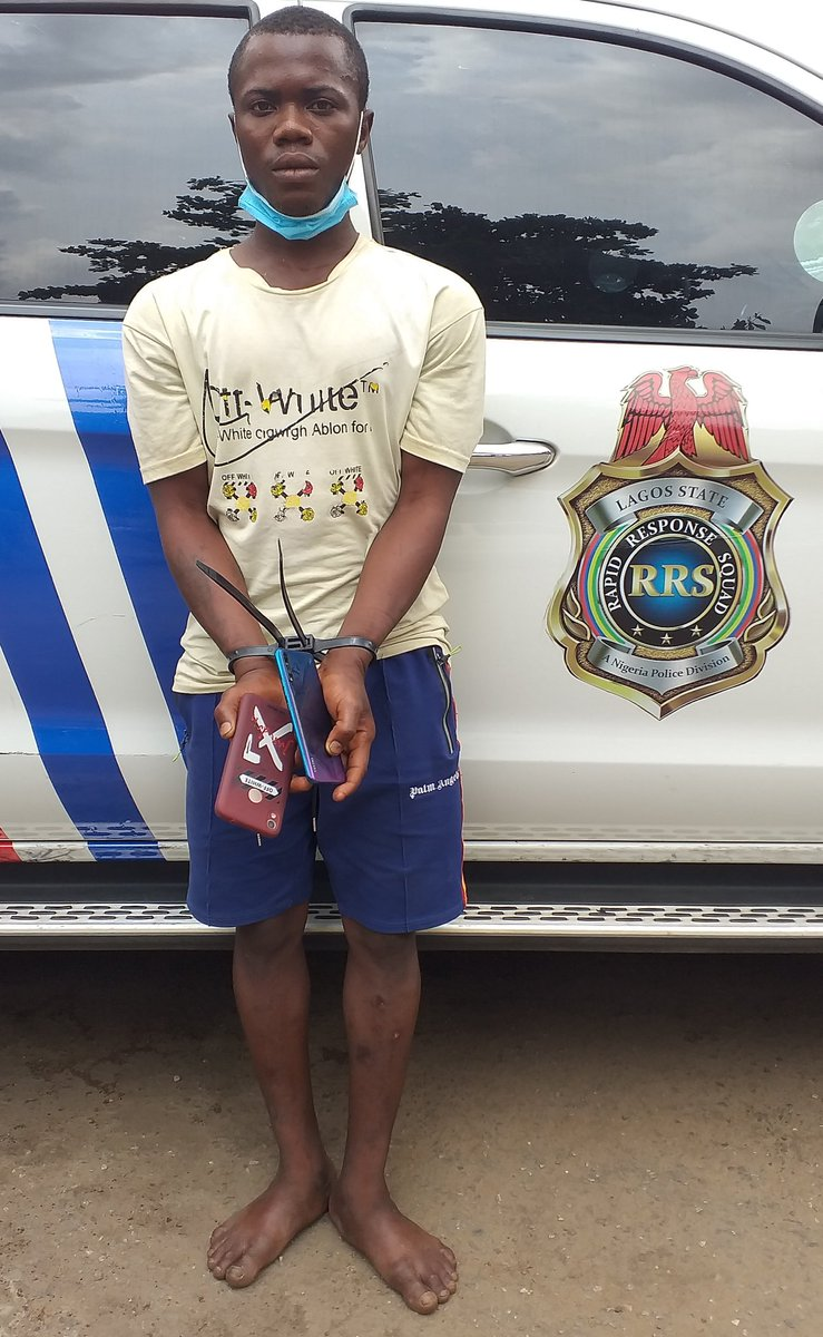 Our officers have caught some of these suspects robbing in early morning traffic around Ketu. Others were indicted as accomplices. They have all given confessional statements and disclosed their tactics. Recovered from them were a machete, hard drugs and their victims' phones.