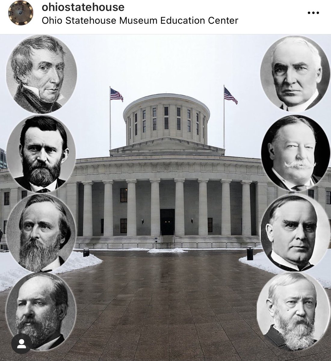 President's Day. This pic was from an Instagram post of the Ohio Statehouse.  Ohio has had 8 Presidents. Tied with Virginia for the most.