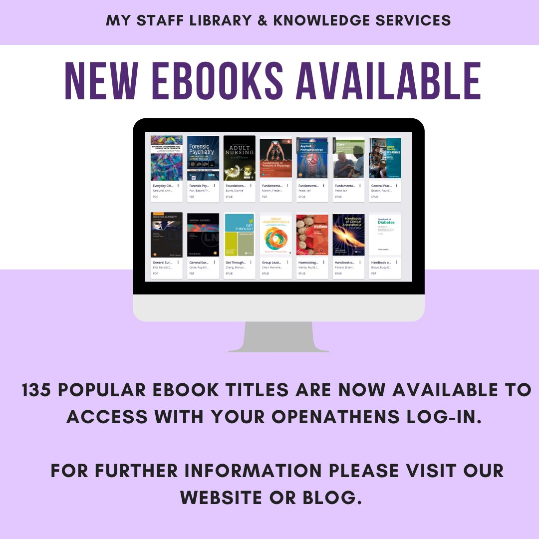 The @Kortext eBooks collection is a new resource for #NHS staff.   Access the collection here: https://t.co/tQqNUt48jG.   Sign in via your institution using your @openathens account details. https://t.co/CAy567yrFl