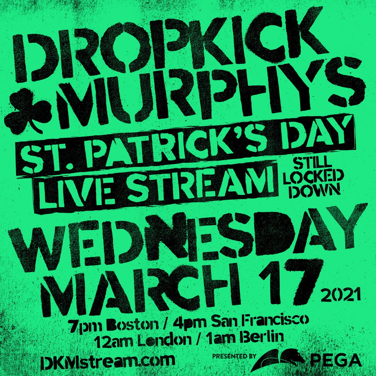 For the 2nd year in a row, we'll be playing a March 17 show in Boston...beamed to your living room!!   ST. PATRICKS DAY LIVE STREAM 2021...STILL LOCKED DOWN will be FREE thanks to our friends at @pega & by YOU!! Read More: