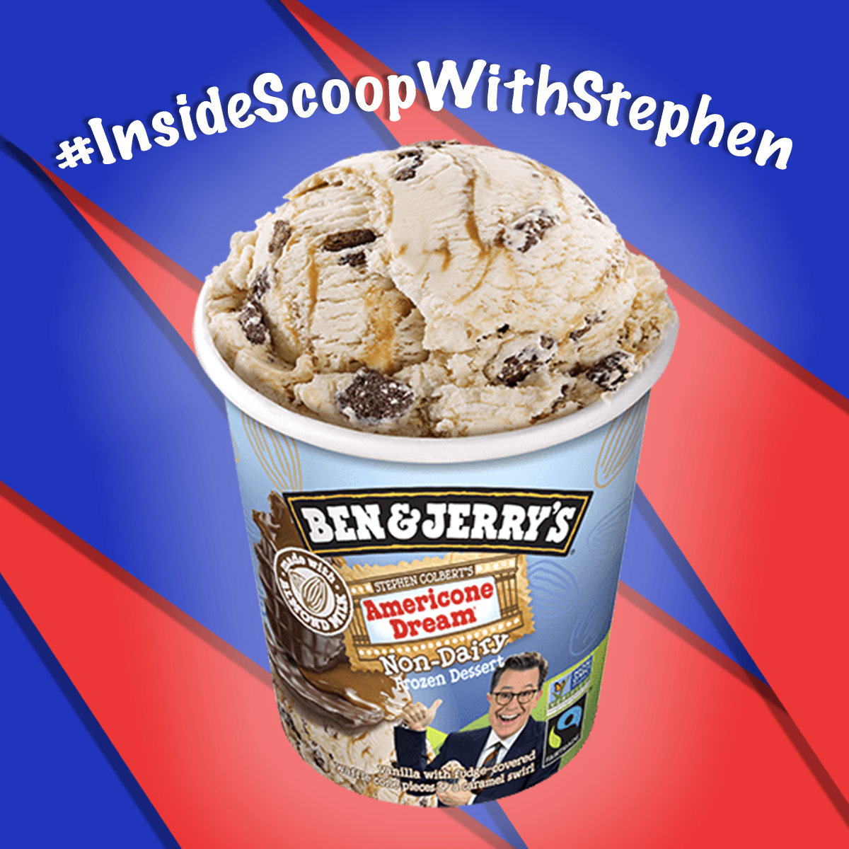 The vegan nondairy Americone Dream is here! Use #InsideScoopWithStephen to ask me questions about my ice cream, The Americone Dream Fund's charitable efforts or anything vegan-related that's on your mind.  Fun fact: the container is vegan, too. But I wouldn't recommend eating it.