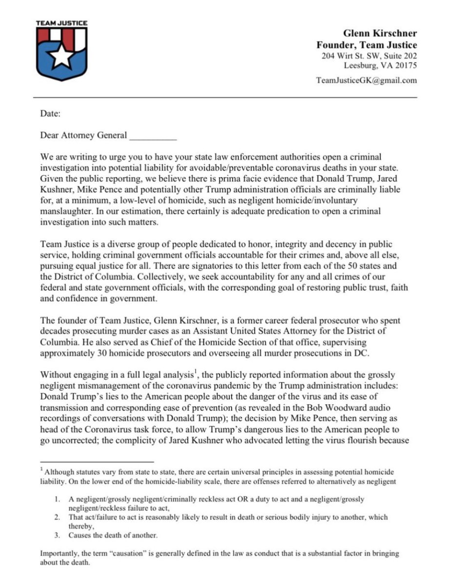 Hey friends. Here are 1. the #TeamJustice letter to all 50 state (& DC) attorneys general demanding Trump be investigated for avoidable COVID deaths & 2. the link to sign the letter. Hope you'll join the fight for justice. Because #JusticeMatters