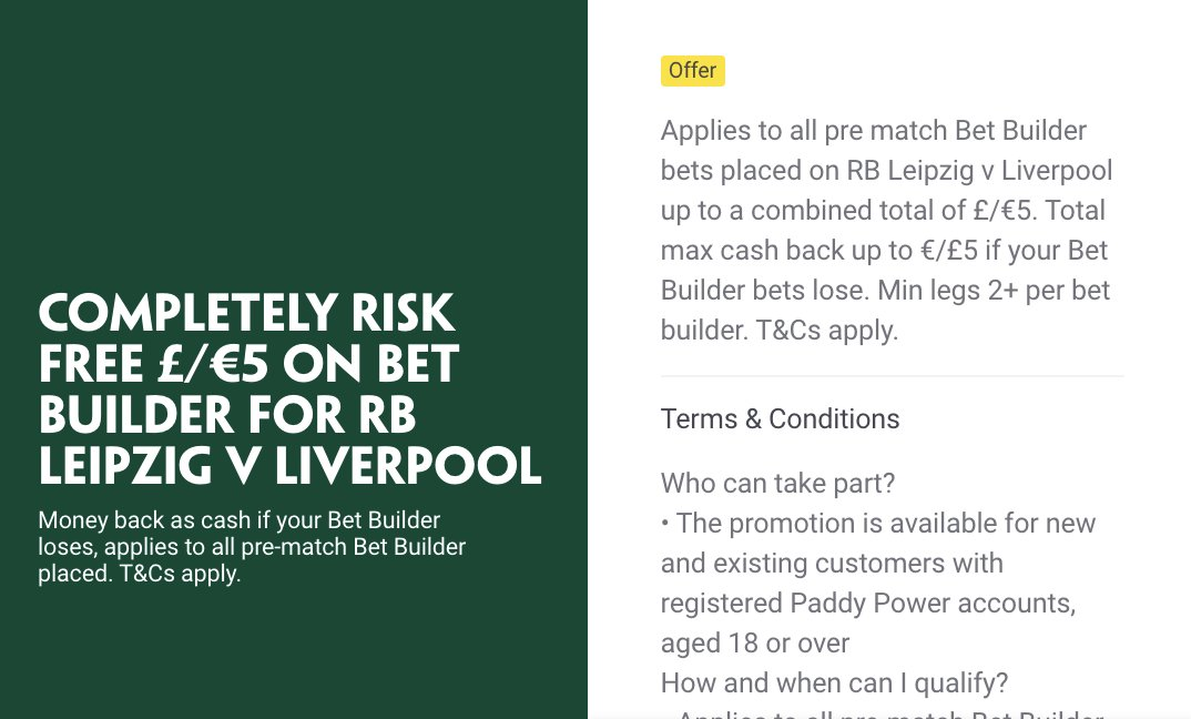 Should be a risk free £5 on the RB Leipzig v Liverpool game for most Paddy Power customers.   2/1, 3/1 & 20/1 picks below   Pretty keen on Thiago being carded, Paddy's currently top price at 3/1. Plenty at stake for L'pool and he's looked a liability defensively in recent games https://t.co/QRvHloerNS