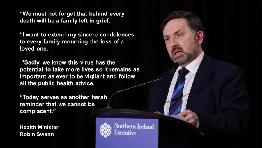 """We must not forget that behind every death will be a family left in grief. ""I want to extend my sincere condolences to every family mourning the loss of a loved one. ""Sadly, we know this virus has the potential to take more lives so it remains as important as ever to be vigilant and follow all the public health advice.""Today serves as another harsh reminder that we cannot be complacent."""