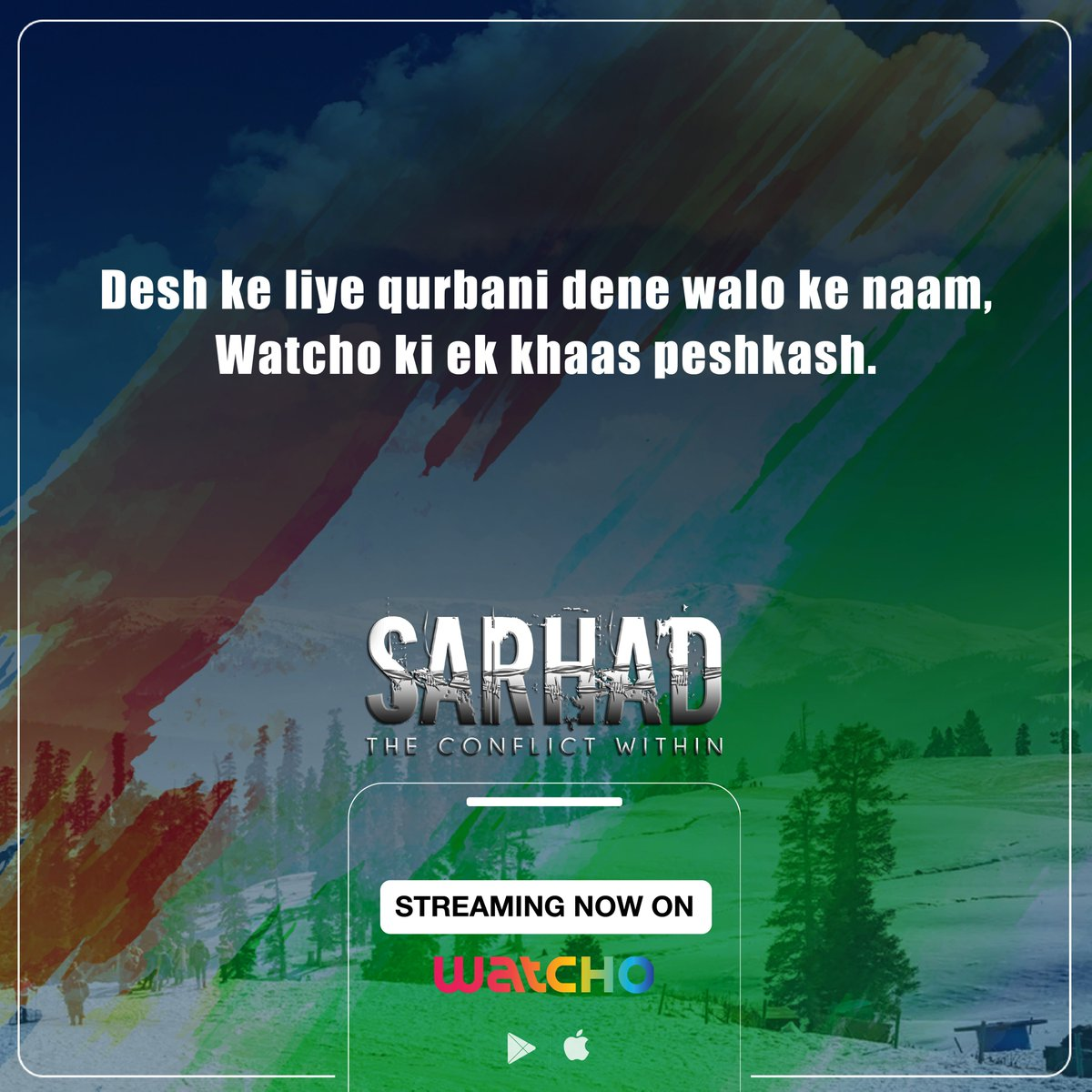 Desh ki sarhado ko jo rakhtein hai surakshit, unhein humara koti-koti pranaam.  Sarhad, streaming now on Watcho.  #LetsWatcho #Watcho #patriotism  #MustWatch  #HappyRepublicDay #Nationalism  #love #patriots #national #ProudIndian   @DishTV_India @officiald2h @PerceptPictures