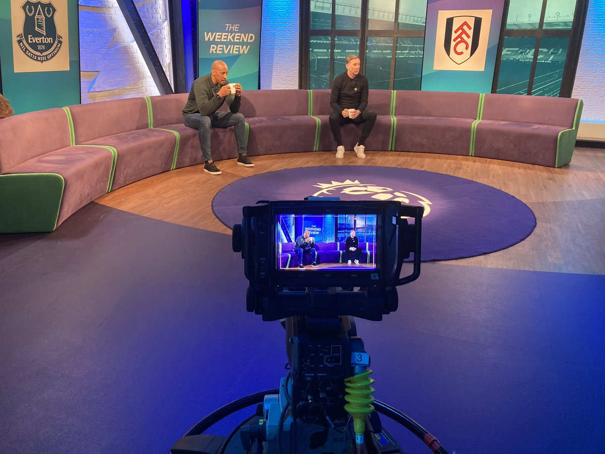 A really enjoyable afternoon on 'The Weekend Review' The boss @markpougatch leading the way with expert analysis from these two, @DionDublinsDube and @donhutch4 These might have been useful during the show 🟨🟥 😊@premierleague #PLFANS #LoveFooty