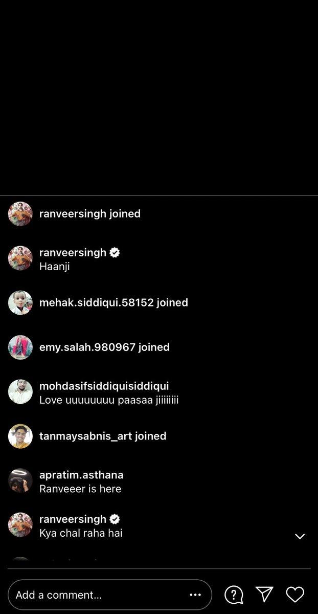 Insta update : Ranveer Singh left comments on Fanclub live on Instagram ❤️