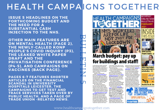 The HCT monthly bulletin No.5 is out and available to download. For a mobile phone-friendly version click healthcampaignstogether.com/flip/NB05/News… For a pdf to print out A4 pages or read online click …ampaignstogether.us20.list-manage.com/track/click?u=…