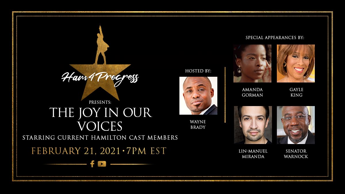 """Join us in celebrating #BlackHistoryMonth with """"#Ham4Progress Presents: The Joy In Our Voices"""", an evening of hope, inspiration, and community celebrating Black art and artists! This event is streaming February 21 at 7PM EST on Facebook and YouTube. Mark your calendar."""