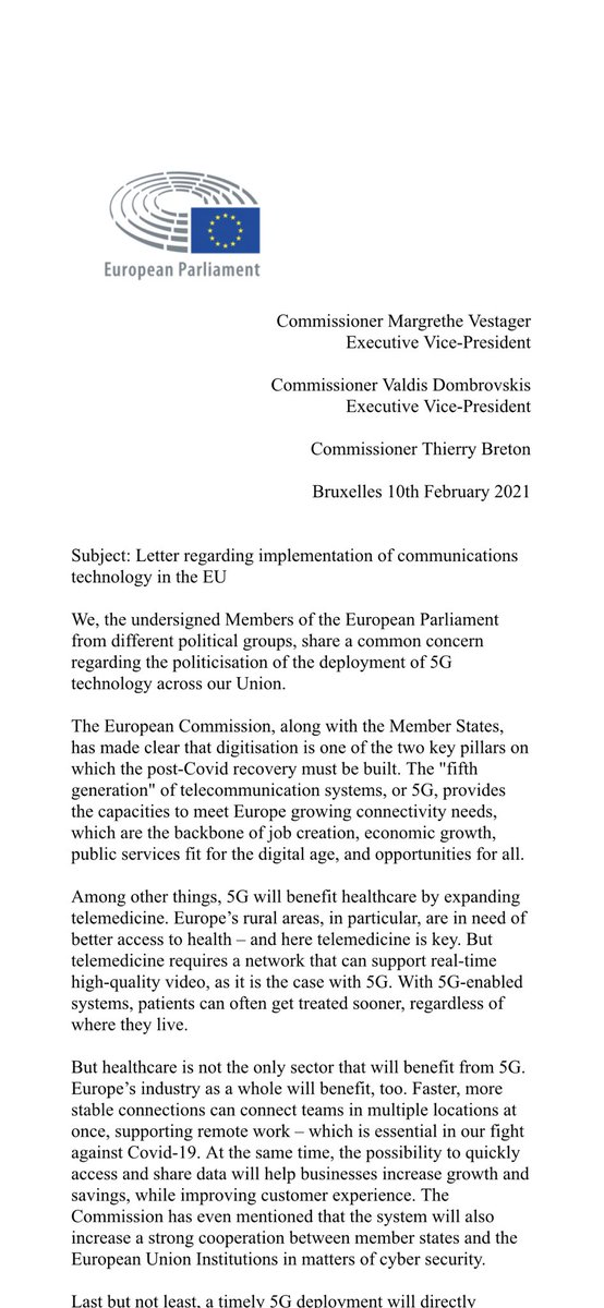 We cannot allow geopolitics to get in the way of fair competition on an essential topic such as 5G. Europe's consumers deserve the best quality for a fair price. Therefore a group of colleagues and I decided to write this letter to @vestager @ThierryBreton & @VDombrovskis https://t.co/k3To1Bz3km