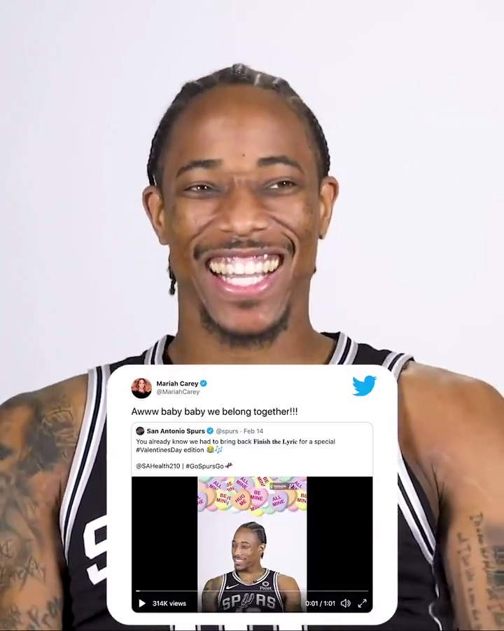 Shoutout to @MariahCarey for the assist 🤣  @DeMar_DeRozan and #NBAAllStar 𝙗𝙚𝙡𝙤𝙣𝙜 𝙩𝙤𝙜𝙚𝙩𝙝𝙚𝙧, so make sure to vote him in! 🤩  #DeMarDeRozan | #GoSpursGo
