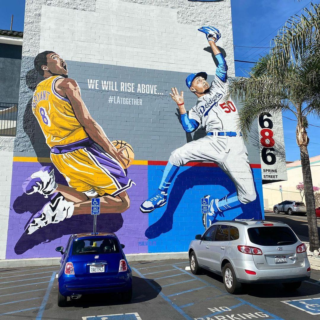 Mural Mookie Betts, Kobe Bryant
