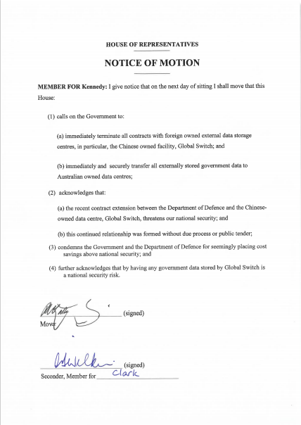 The motion @WilkieMP and myself will be moving in the House next week. #auspol