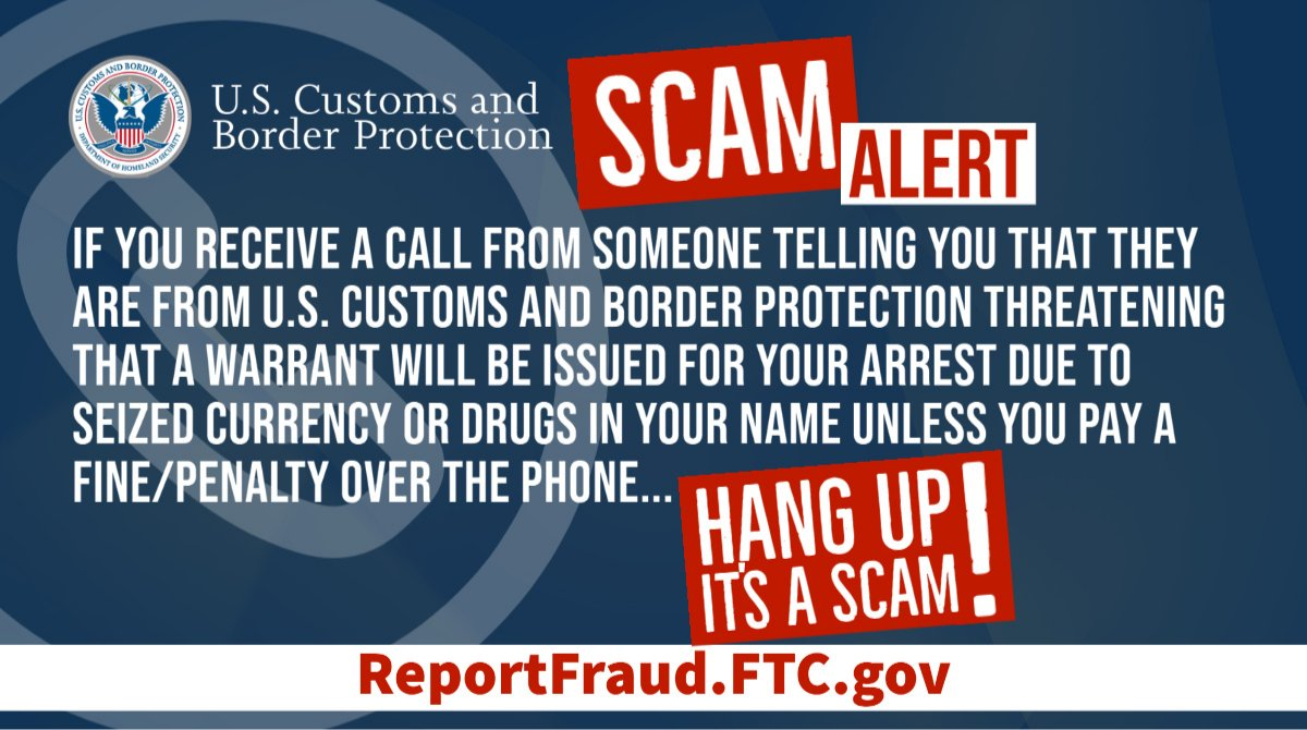 🚨 SCAM ALERT 🚨 If you receive a call from someone claiming to be a CBP officer or Border Patrol agent demanding payment from you, hang up—its a scam. CBP does NOT solicit money over the phone. More ➡️ go.usa.gov/xsx2q