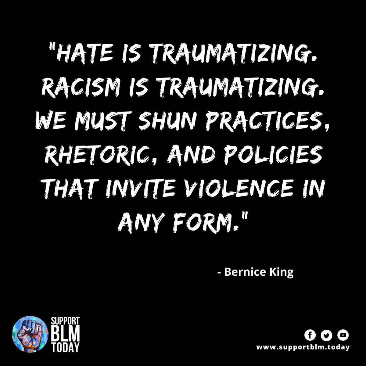Racism is traumatizing    #blacklivesmatter #blmquotes #blm #blm2021 #equality #racism #solidarity #blacklives #mlk #blmmovement #nojusticenopeace #blacklivesmatterplaza #blmprotest #blmfist