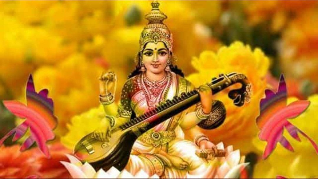 "Wishing you Happiness, Good fortune, Success, Peace, & Progress on the occasion of Basant Panchami."" ""May Goddess Saraswati bless you with the ocean of knowledge which never ends #BasantPanchami"