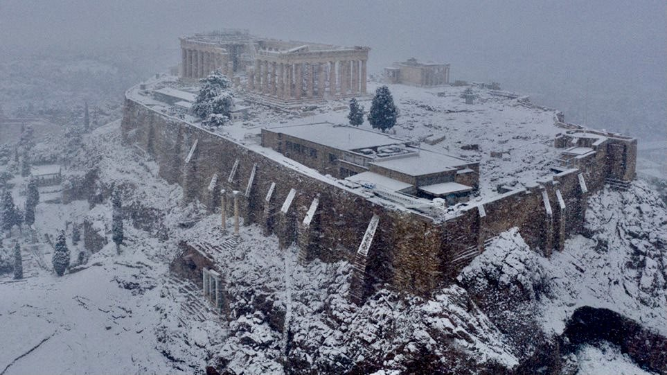 A very rare sight, the Acropolis covered with snow