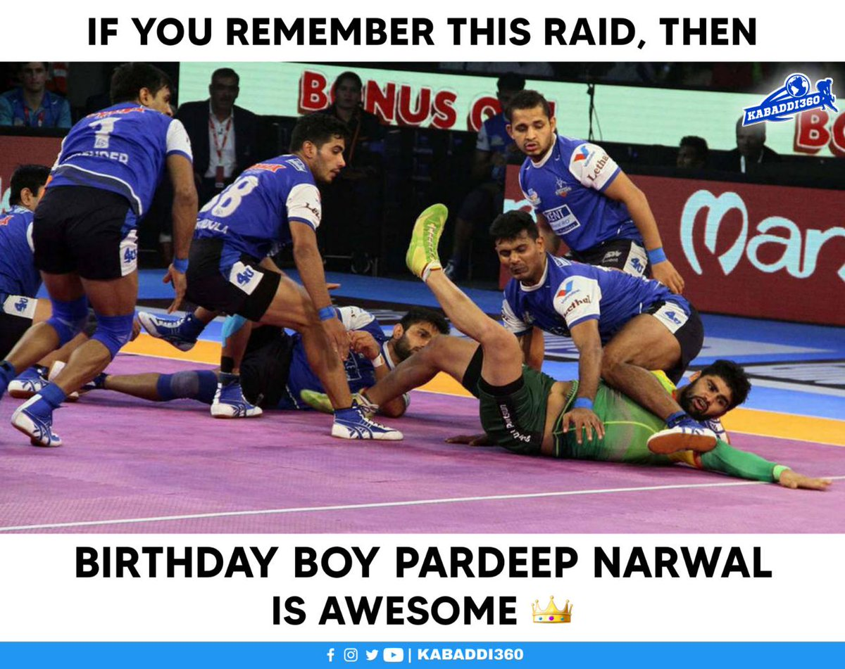What were you doing when Pardeep Narwal notched up 8 points in a single raid? 🤯  #PardeepNarwal #8PointRaid #BirthdayBoy #Kabaddi360