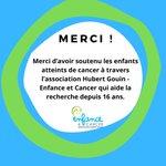 Merci d'avoir soutenu les enfants atteints de cancer à travers l'Association Hubert Gouin - Enfance et Cancer qui aide la recherche depuis 16 ans.  Les enfants vous tendent la mains . Faites un don sur : https://t.co/gBN2G0Fyhs