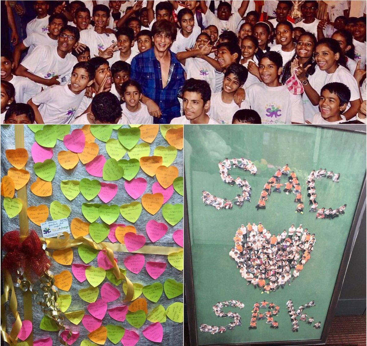 """.@iamsrk #ShahRukhKhan was delighted to receive gifts,from children at Sparke a change foundation.  """"Always good to receive gifts that are as beautiful as these thank u to all the kind hearted children at @ChangeSPARKers ! Keep spreading the smiles #MeerFoundation  (16 Feb 2018 )"""