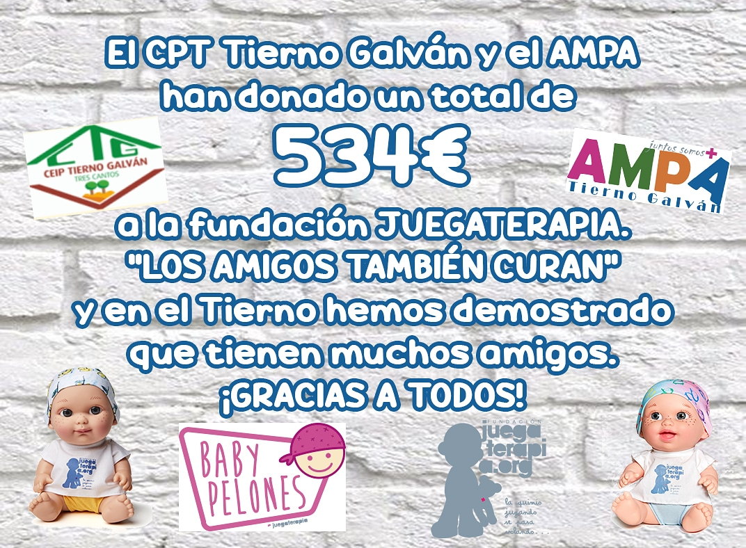 Gracias a vosotros, el @cpttiernogalvan3cantos y el AMPA hemos donado 534€ a la fundación @juegaterapiaorg entre donativos y la compra de #babypelones y mochilas. #LosAmigosTambienCuran y hemos demostrado que en el Tierno tenéis muchos amigos. Recordad, juntos somos más fuertes.