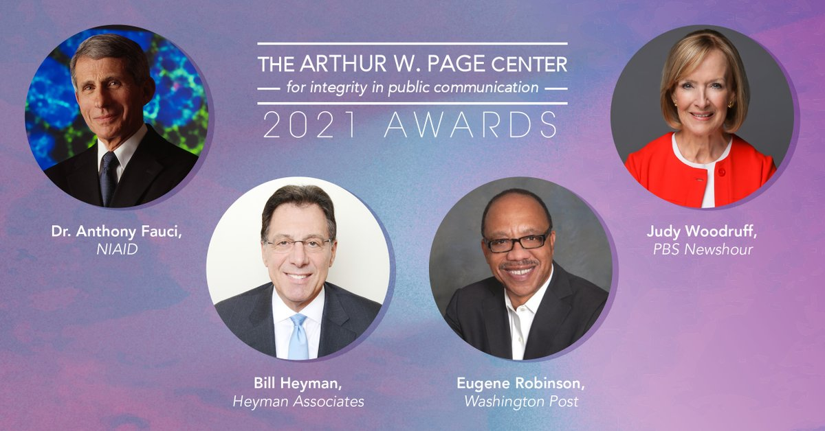 Join our honorees live for a discussion on #integrity in public communication from four unique perspectives. The virtual #PageCenterAwards are on Feb. 24 at 7 p.m. (ET). Register for this free event today: eventbrite.com/e/2021-arthur-…