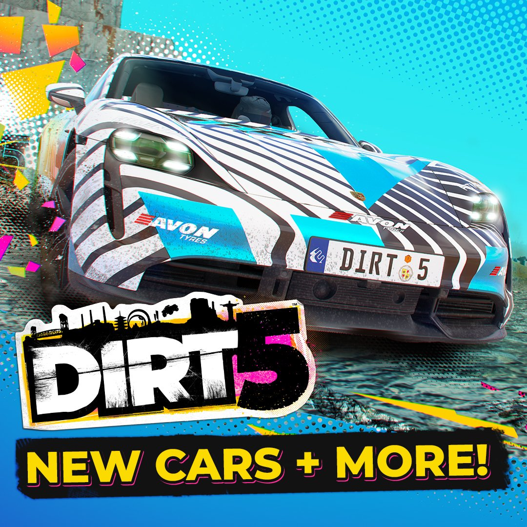🔋 ROLLING OUT NOW ▶️ DIRT 5's Energy Content Pack and FREE update! 🔋   ⚡ 4 new cars  ⚡ New Career events ⚡ New Playgrounds options ⚡ Technical improvements  The Energy Content Pack is FREE to all Amplified and Year One Edition players!  Patch notes |