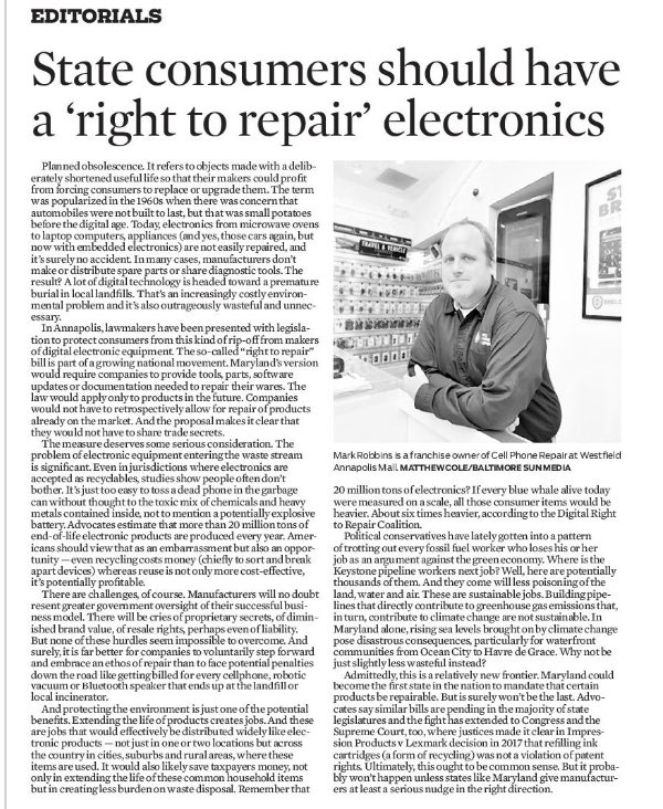 Great to have The Sun's endorsement of our Right to Repair bill! So thankful for everyone helping to advance this pro-consumer, pro-environment, pro-small business legislation. @katiefryhester @BrianFrosh @MarylandPIRG @sierraclubmd @FarmBureauMD #Working4MD #MDGA21
