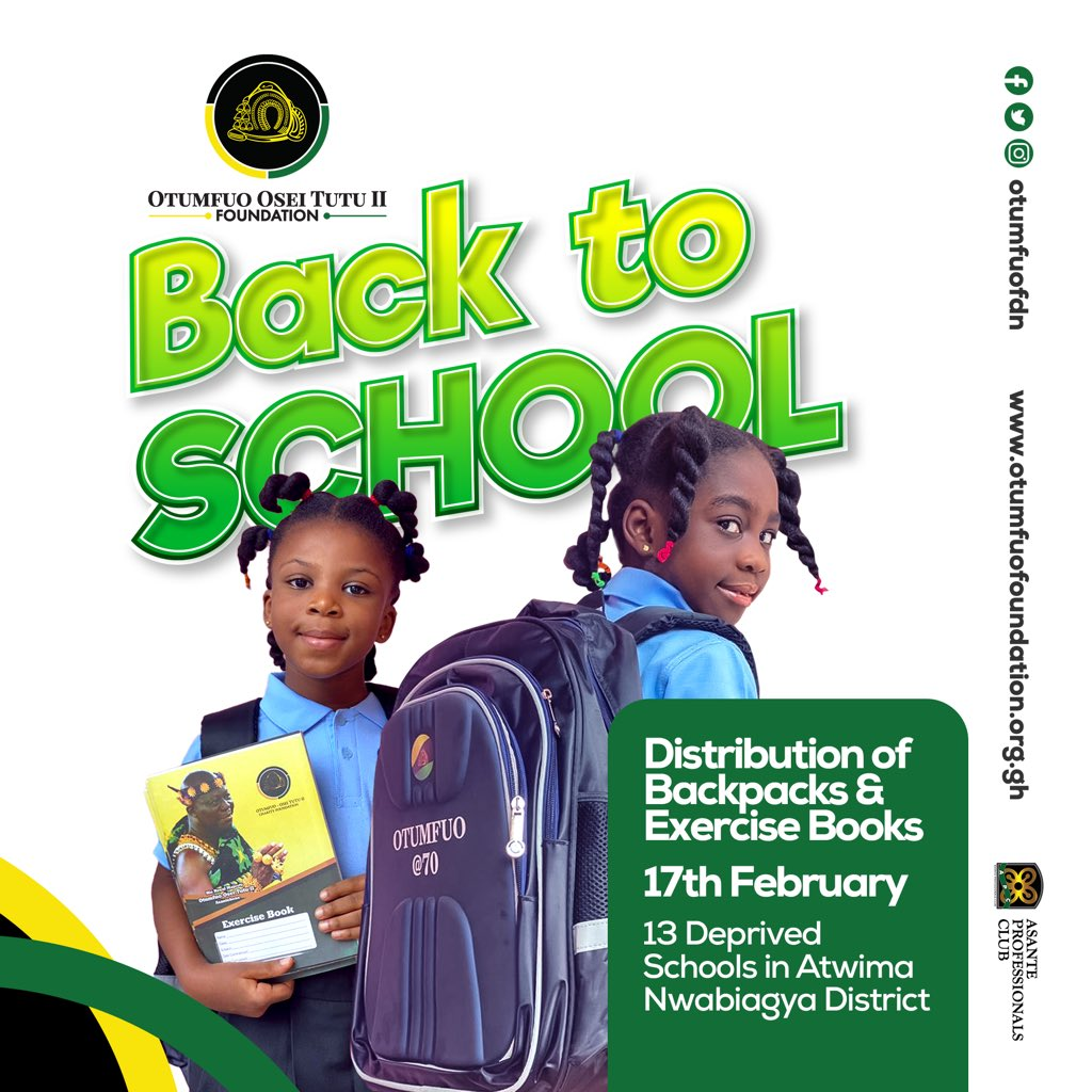 "Ashanti Kingdom: ManhyiaPalace ""@Otumfuofdn to distribute backpacks and exercise books to some schools in the Atwima Nwabiagya District in Ashanti Region. "" #Exploregh #Ashanti #Kumasi #VisitKumasi"