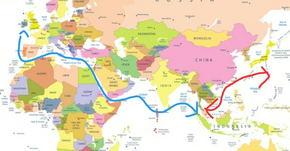 添付の絵をご覧下さい。これはヨーロッパ〜日本間の航路です(分かりやすい様に超ザックリです)。ヨーロッ...
