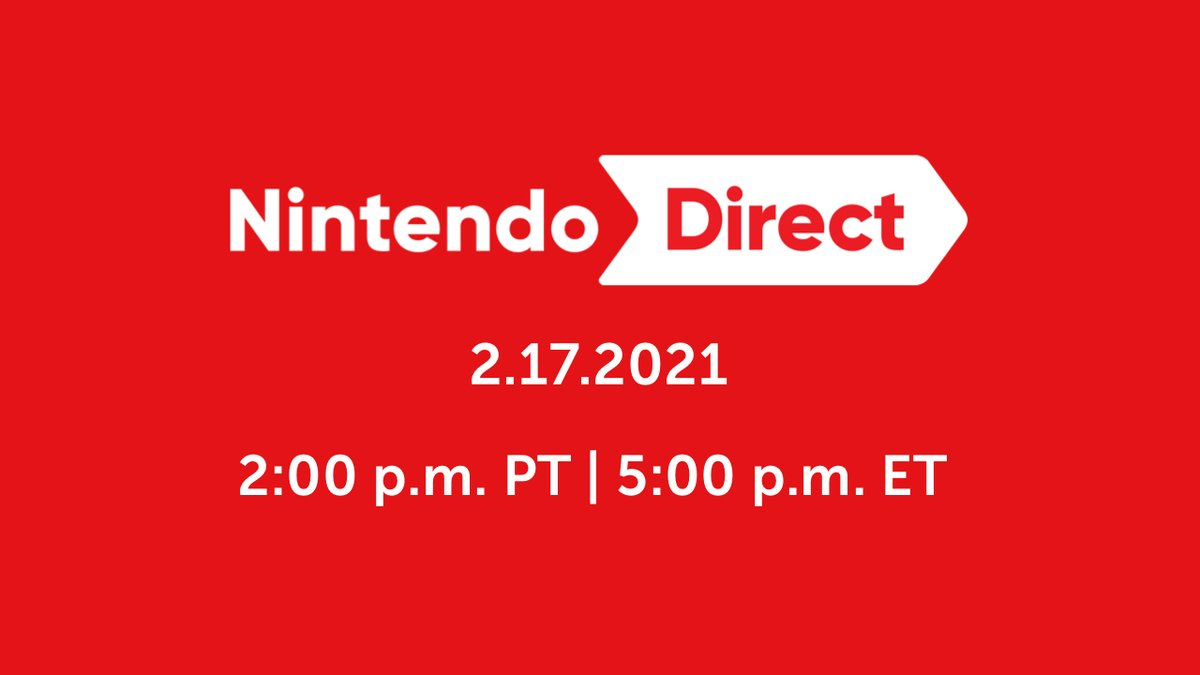 Tune in 2/17 at 2 p.m. PT for a #NintendoDirect livestream featuring roughly 50 minutes of information focused on available games like Super #SmashBrosUltimate and games coming to #NintendoSwitch in the first half of 2021.