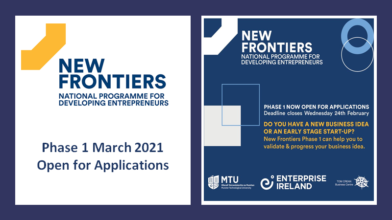 Do you have a new business idea? Are you an early stage start-up? The New Frontiers Phase 1 Programme is open @Tom_CreanCentre @MTU_Kerry delivering a series of eight expert led workshops virtually during March 3rd-31st. Contact: info@creancentre.com #enterprise #startups https://t.co/KD74rnHIsI