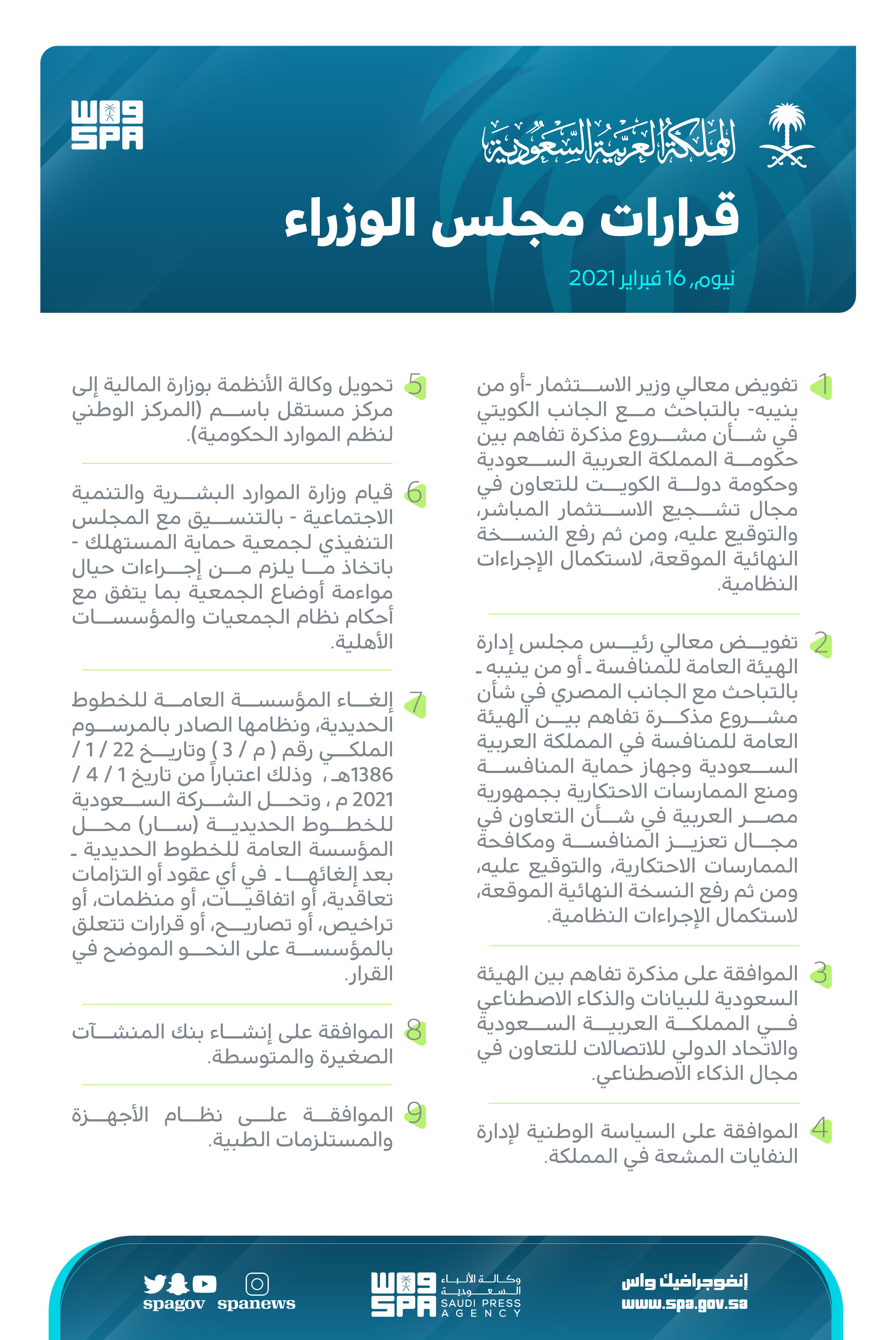 9 approvals by King Salman regarding Railways, SME banks, HR, and more