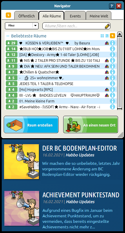 It's great that you want to undo bad decisions as soon as revenue profit plummets. Unfortunately only that it is too late... 104 User on 16.02.2021 at 15pm Western European Time in the 12 most visited rooms online!!! Respect @De_Habbo #notmyhabbo
