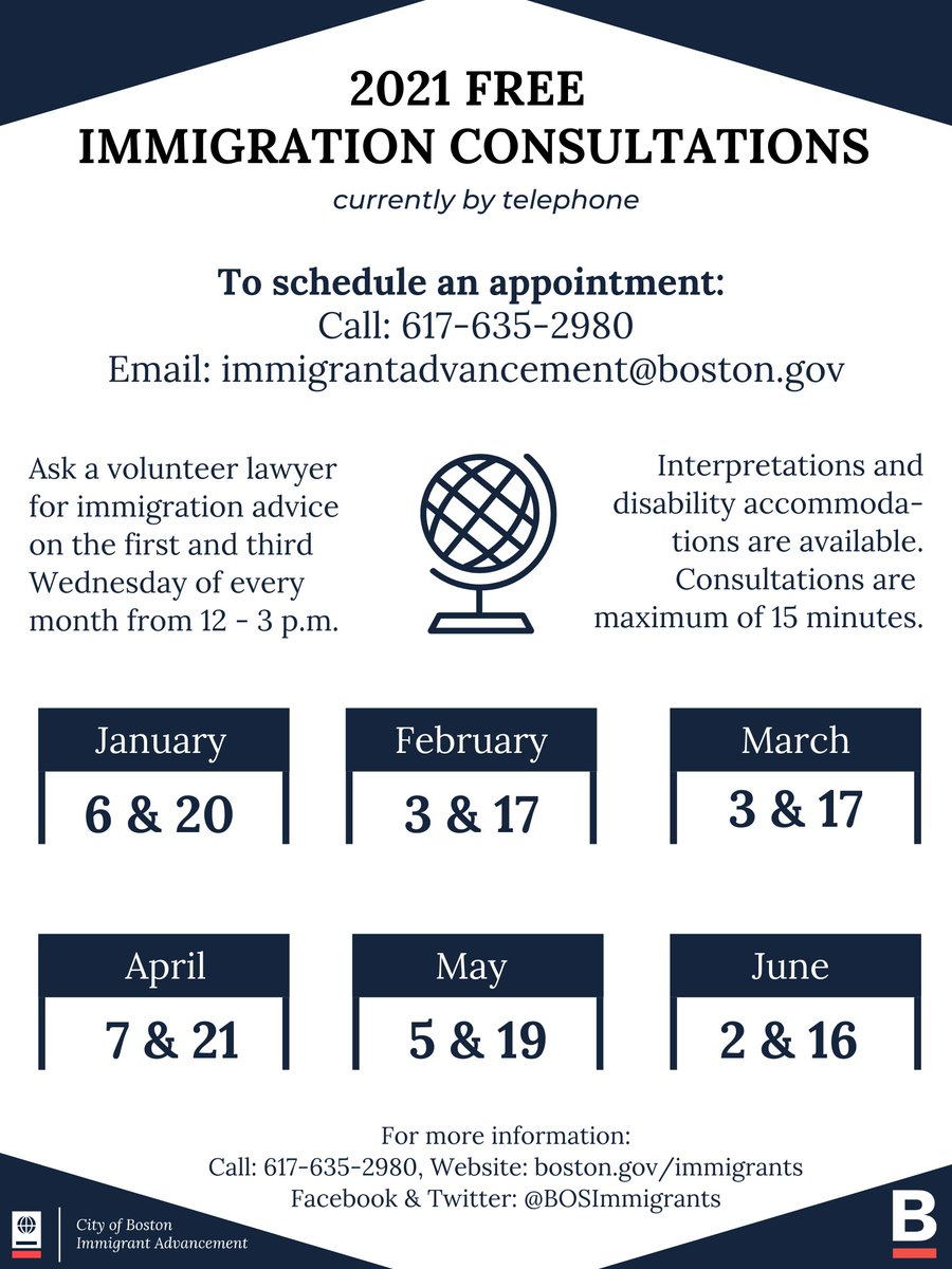 Ask a lawyer for immigration advice. Consultations are free and interpretation and disability accommodations are available. Call @BOSImmigrants at (617) 635-2980 or email immigrantadvancement@boston.gov to make an appointment. #immigrationconsultation #needalawyer