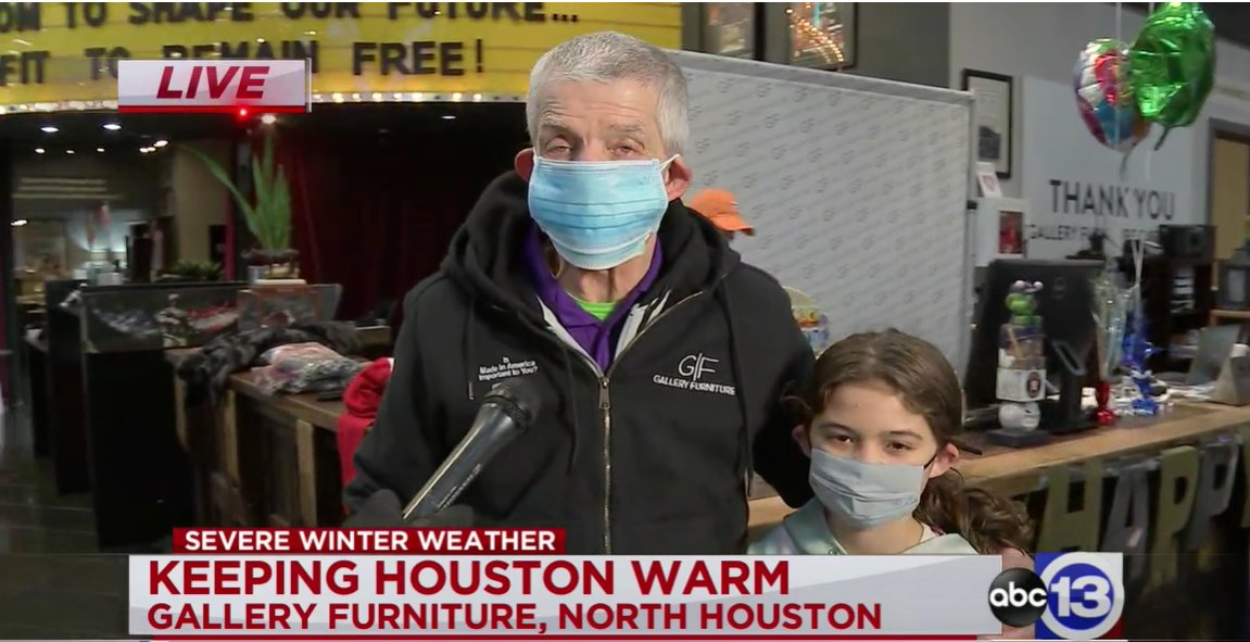 Mattress Mack (and his adorable granddaughter) say if you need a warm place to stay, you can head over to @GFToday on 45N or in Richmond.   He has food, blankets, and clothes for anyone who needs it: