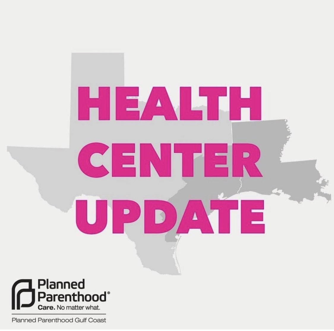 🚨WEATHER UPDATE:🚨 Due to power outages, all PPGC Texas health centers and admin offices will remain CLOSED Wed., 2/17 & Thurs., 2/18. Louisiana health centers will also be closed Wed., 2/17. Stay safe, everyone.