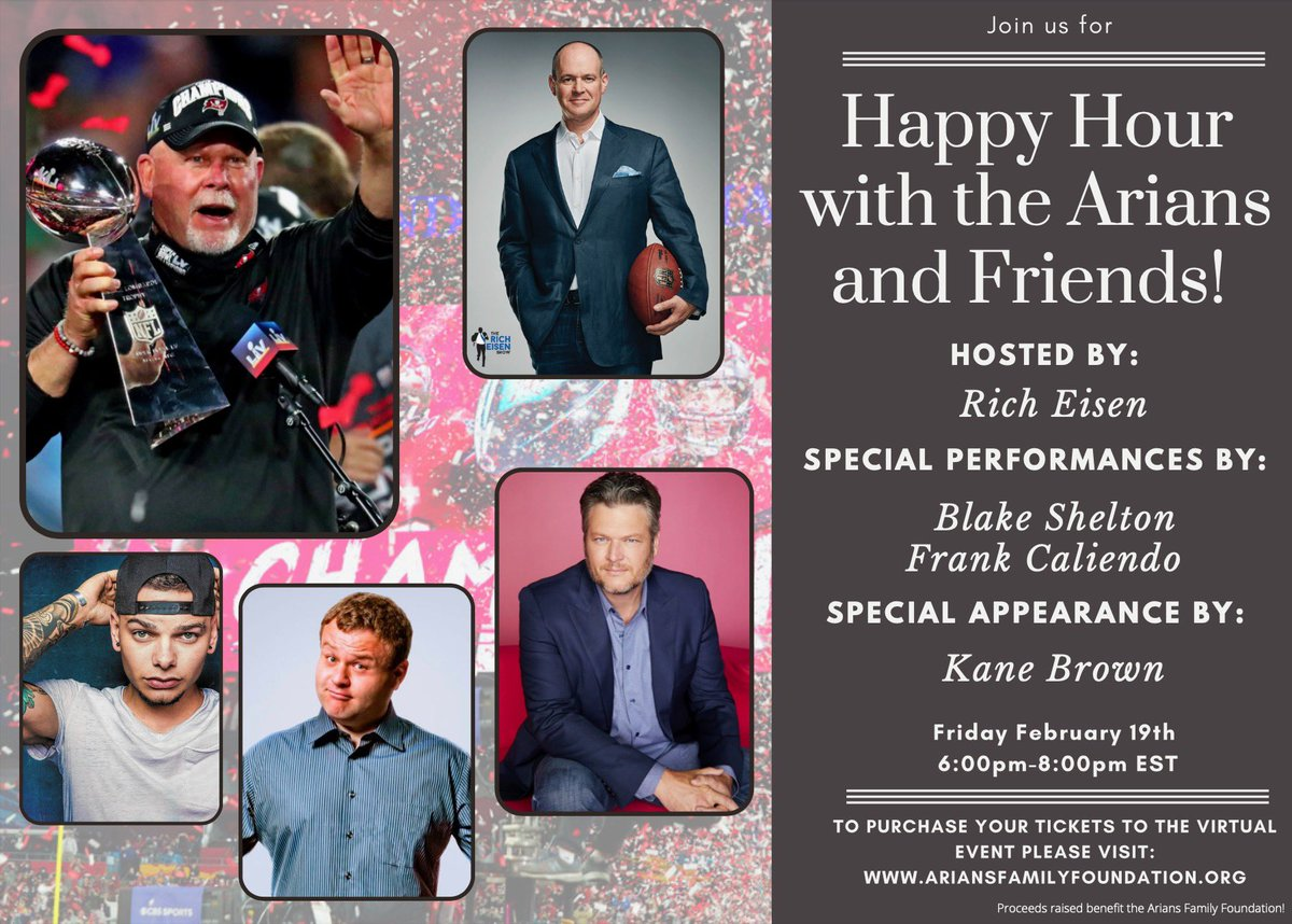 This Friday don't miss out on your chance to spend happy hour with Super Bowl Champ Head Coach @brucearians and his friends @richeisen @blakeshelton @frankcaliendo and @kanebrown_music!  Visit  to purchase your tickets today!