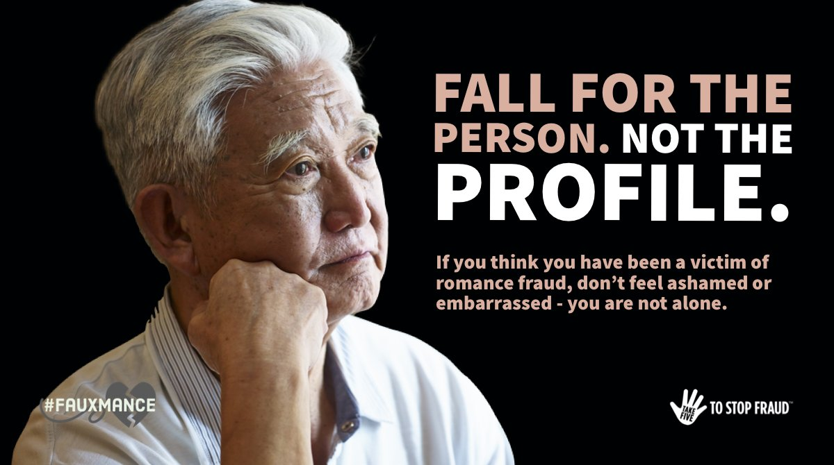 Victims often don't report #RomanceFraud because they feel foolish or ashamed to talk about what has happened to them.   If you think you've been a victim of a scam, remember you are not alone. Your report can help protect others. #Fauxmance https://t.co/KFP9B75ypX https://t.co/F8LAWc1gWs