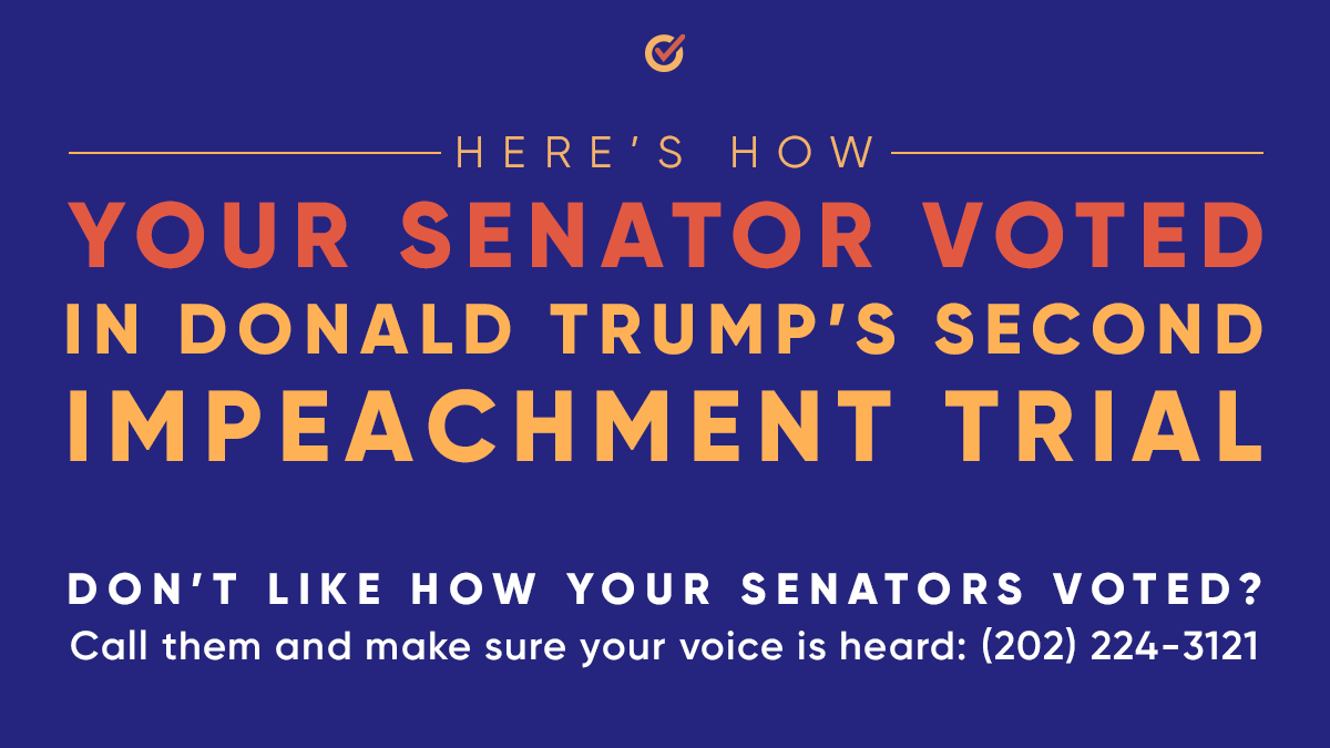 How did your senator vote in Donald Trump's second impeachment trial? Look 'em up here—and if you don't like what you see, call them to let them know: (202) 224-3121 ☎️