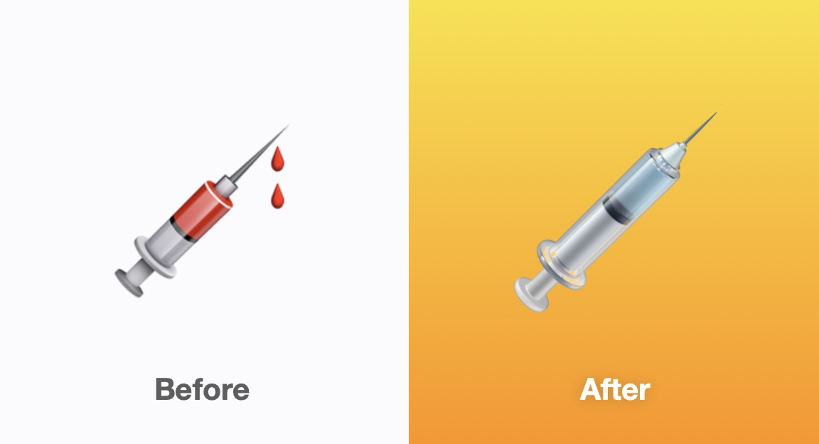 Apple has removed the blood from the syringe emoji in iOS 14.5, making it more versatile to represent vaccination 💉