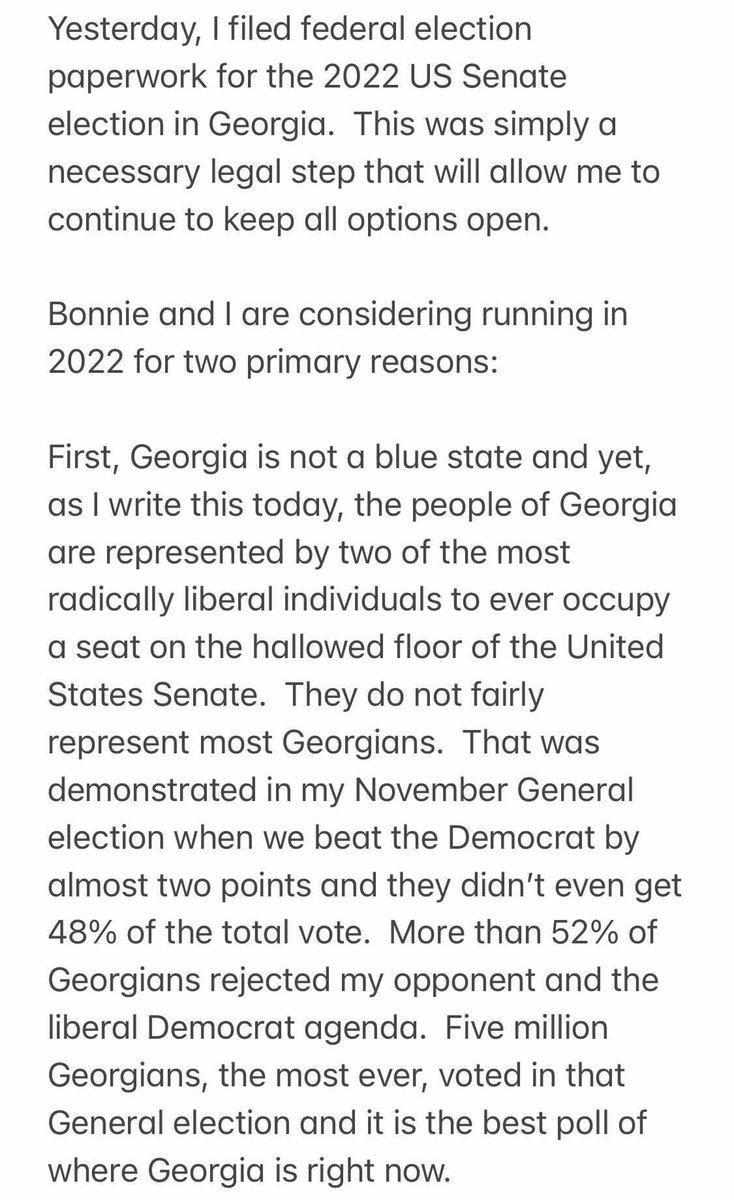 Bonnie and I are considering running in 2022. Here's my note on why: