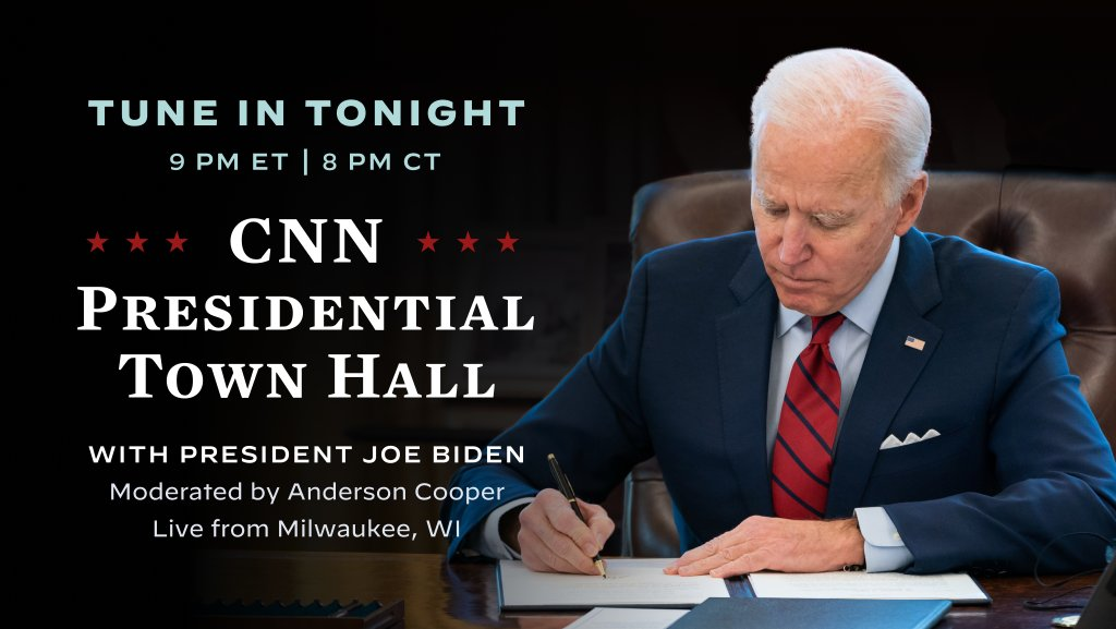 Tonight, I'll be answering questions at my first town hall since taking office. Make sure to tune in to CNN at 9 PM ET / 8 PM CT to watch.