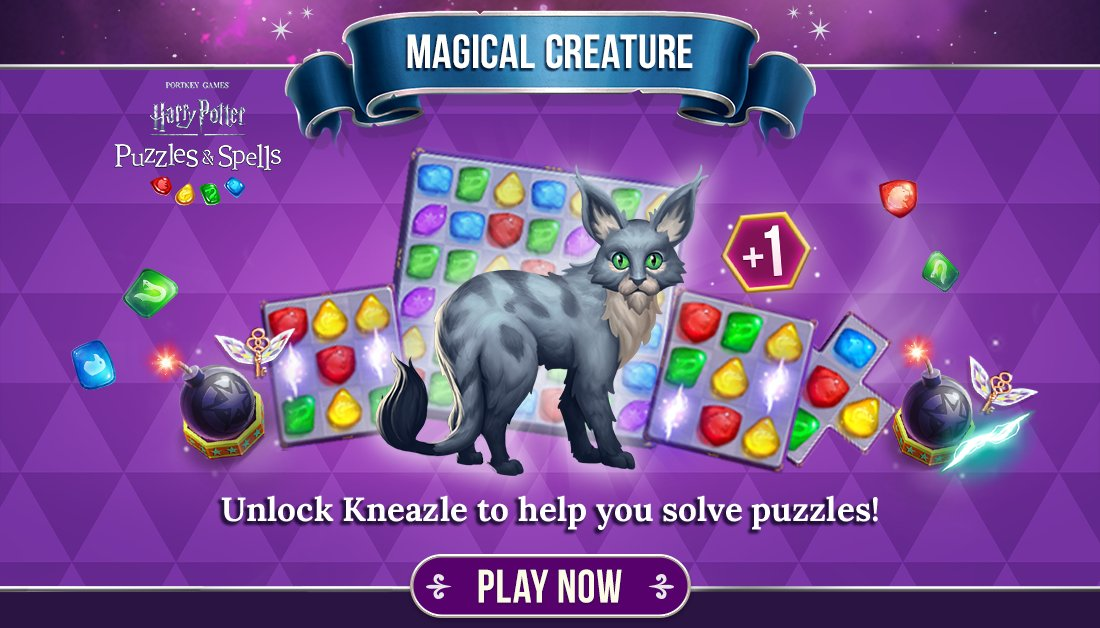 Completing consecutive puzzles on your first try give you a win streak that grants you Power-Ups based on your magical creature!  Use Kneazle's win streak Power-Ups NOW ➡️   #HarryPotter #PuzzlesAndSpells #Kneazle #MagicalMarvels