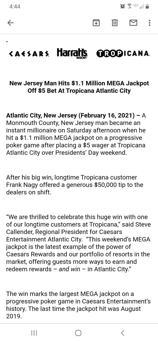 """This guy gets it...👏👏👏  """"After his big win, longtime Tropicana customer Frank Nagy offered a generous $50,000 tip to the dealers on shift."""""""