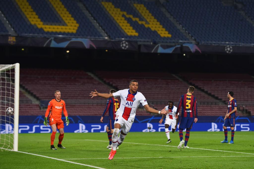 مبابي يقود الباريسي لقهر برشلونة بالرباعية على الكامب نو في دوري أبطال أوروبا