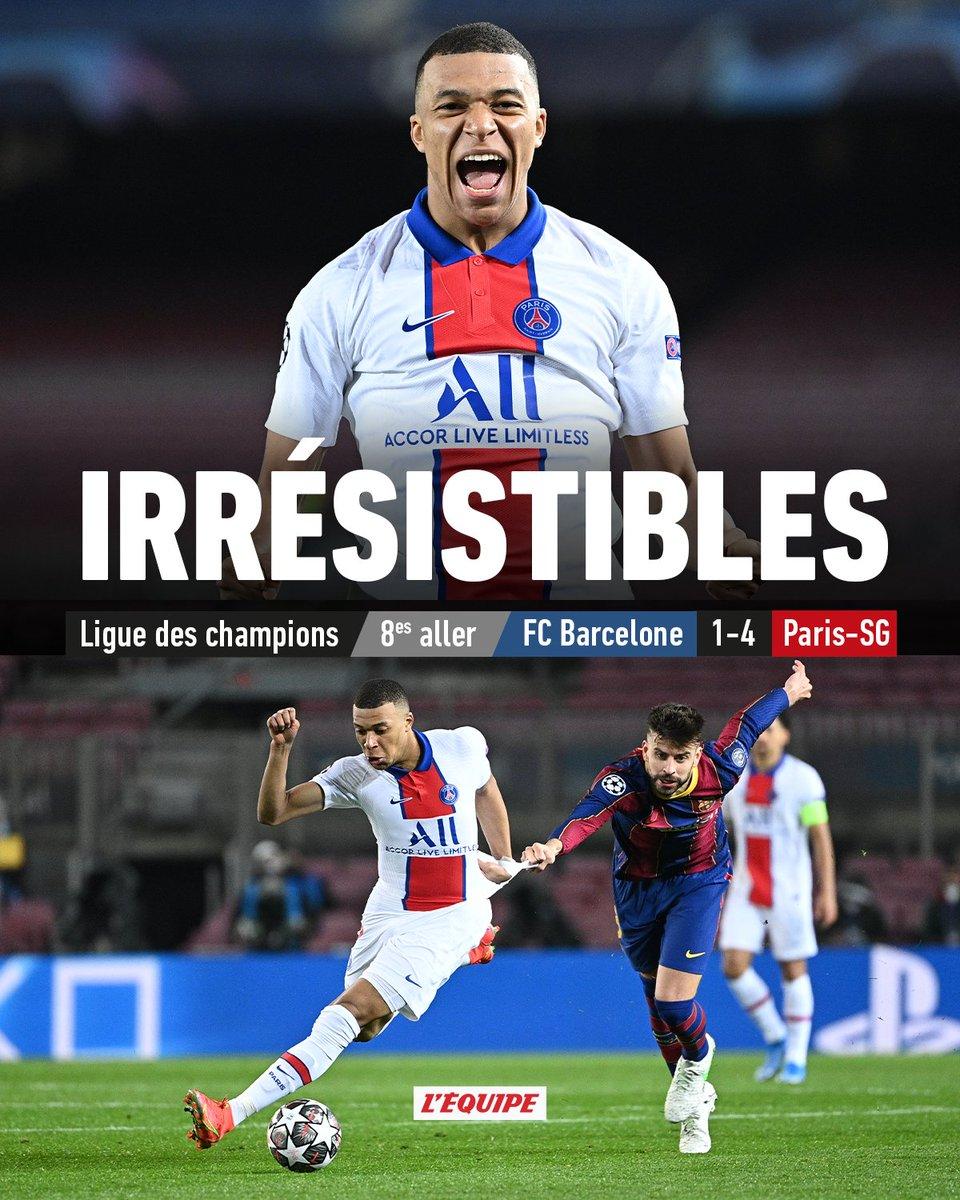 Le PSG corrige le Barça grâce à un triplé de Mbappé.  Le match >   #BarcaPSG #FCBPSG